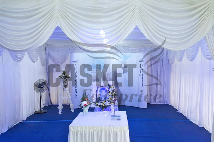 White tentage set-up with decorations