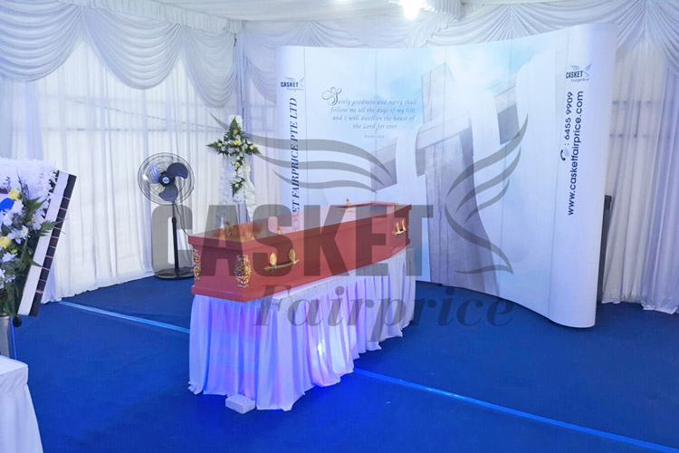 Christian backdrop for funeral wake