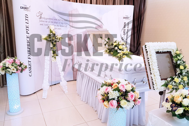 Flower decorations at funeral parlour