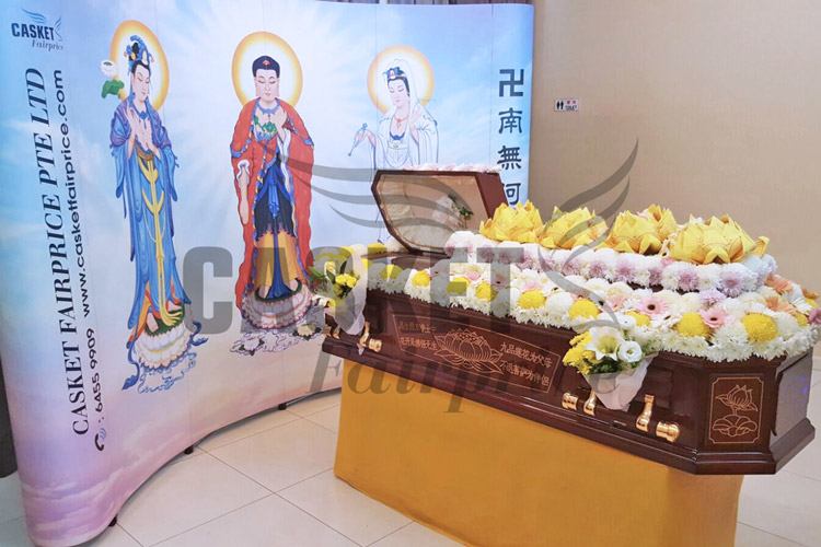 Casket flower decoration at funeral parlour