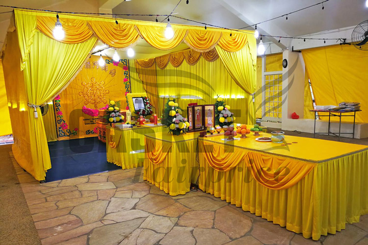 Yellow Tentage Series with Buddhist Wheel backdrop