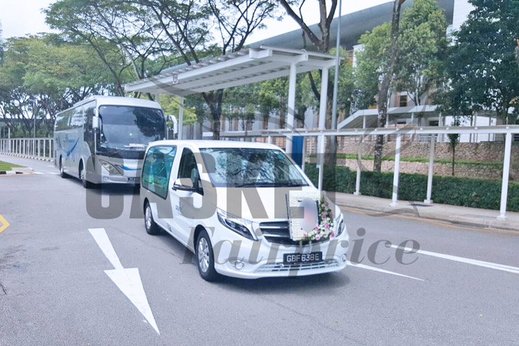Funeral hearse heading for Mandai crematorium